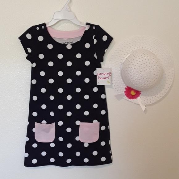 1d0055bd7b9e3 Girls 4 NWT Navy W/White Polka Dots Dress + Bonnet. Boutique. jumping beans
